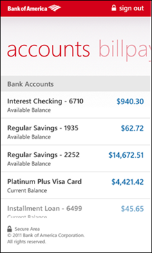 Screenshot of the Bank of America app